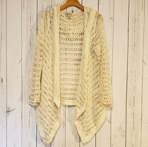 Lucky Brand Cream Open Knit Hooded Cardigan Large